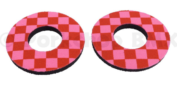 ProBMX Flite Style BMX Bicycle Foam Grip Donuts - Checker Pink & Red