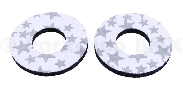 ProBMX Flite Style BMX Bicycle Foam Grip Donuts - Stars White & Silver