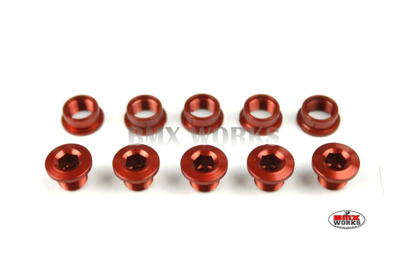 Chainring Bolt Set 5.5mm - Pack of 5 - Red