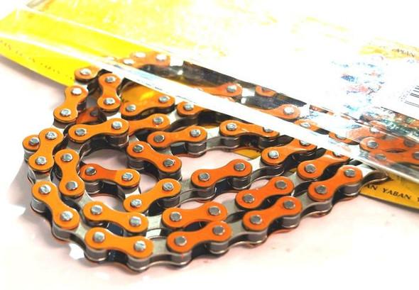 "Yaban 1/2"" x 1/8"" x 112 Link Orange & Nickel Chain"
