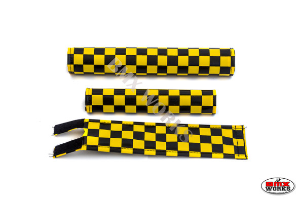 FLITE 3 Piece Nylon BMX Padset - Checker Black & Yellow