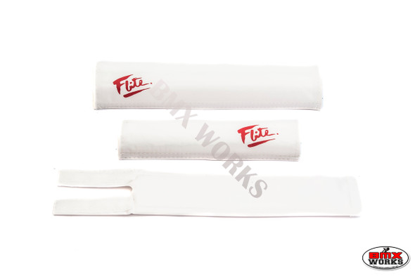 FLITE 3 Piece Nylon BMX Padset - 80's Logo White & Red