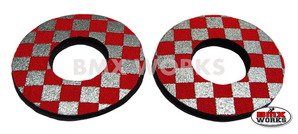 ProBMX Flite Style BMX Bicycle Foam Grip Donuts - Checker Silver & Red