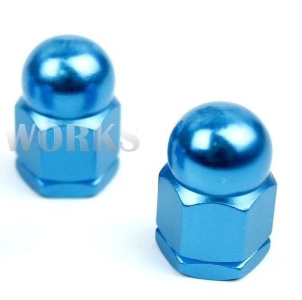 "Anodized 3/8"" x 26T Acorn Axle Nuts Pairs Bright Blue"