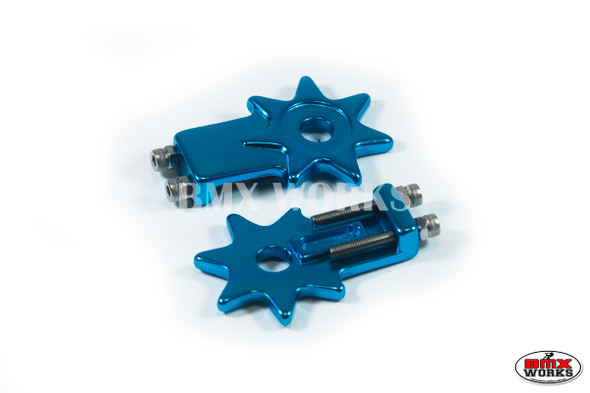"""Star Chain Tensioners Bright Blue Suit 3/8"""" Axles (Pair)"""