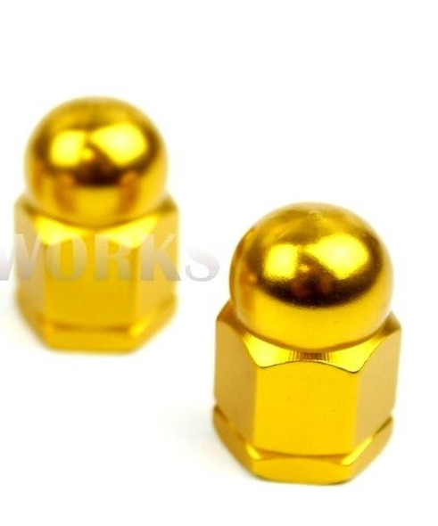 "Anodized 3/8"" x 26T Acorn Axle Nuts Pairs Gold"