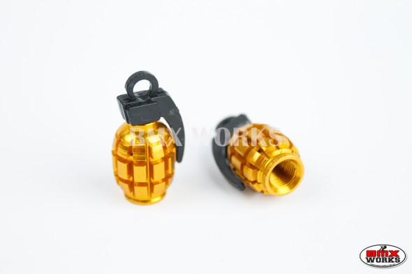 BMX Grenade Valve Caps Pairs - Gold - Old School BMX