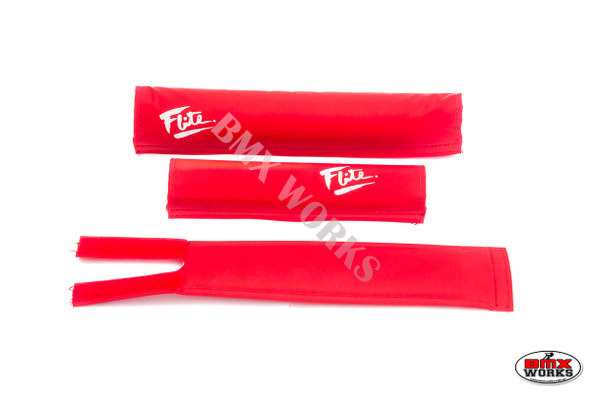 FLITE 3 Piece Nylon BMX Padset - 80's Logo Red & White