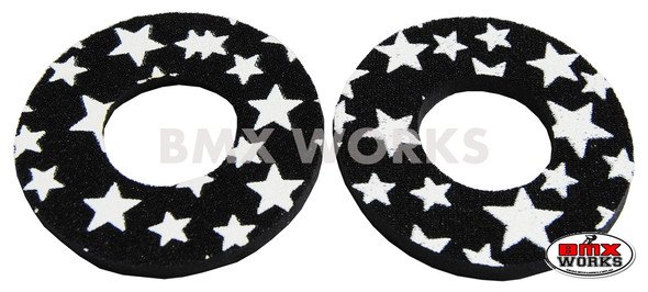 ProBMX Flite Style BMX Bicycle Foam Grip Donuts - Stars Black & White