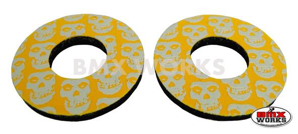 ProBMX Flite Style BMX Bicycle Foam Grip Donuts - Skulls Yellow & White