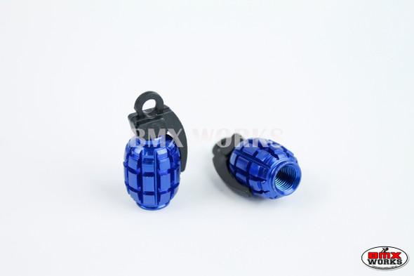 BMX Grenade Valve Caps Pairs - Blue - Old School BMX