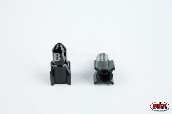 BMX Bullet Valve Caps Pairs - Black - Old School BMX