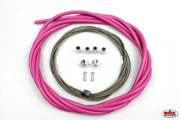 BMX Brake Cable Front & Rear Kit Bright Pink