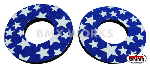 ProBMX Flite Style BMX Bicycle Foam Grip Donuts - Stars Blue & White