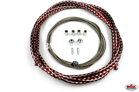 BMX Brake Cable Front & Rear Kit Checker Red & Chrome