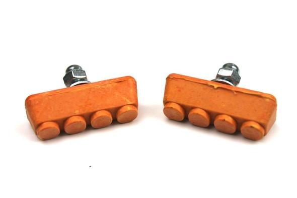 BMX Freestyle or Race Bicycle Brake Pads - Orange Pairs
