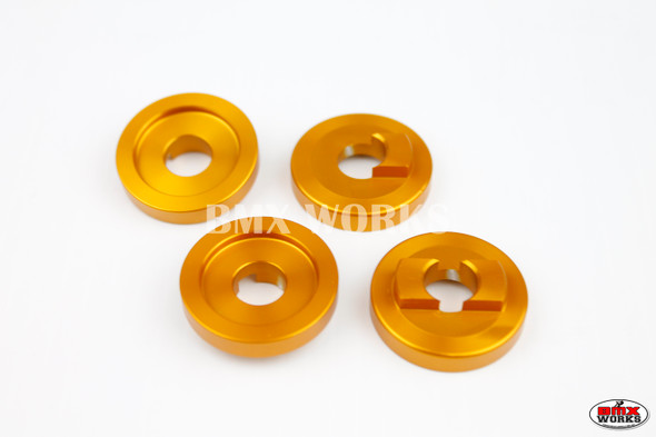 "ProBMX Alloy Front & Rear Set Dropout Savers for 3/8"" Axles Gold"