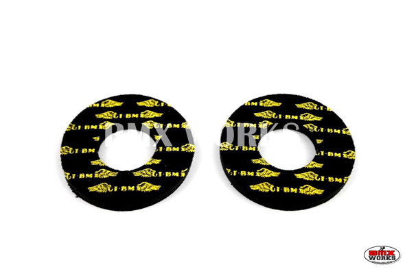 ProBMX Flite Style GT Race Wings Black & Yellow Grip Donuts