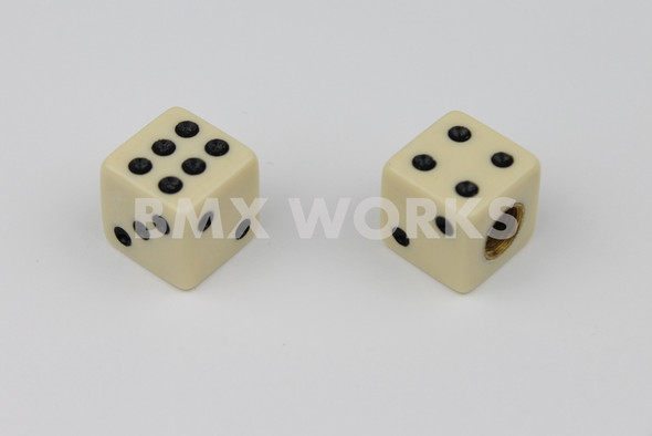 BMX Dice Valve Caps Pairs - Solid Off White - Old School BMX