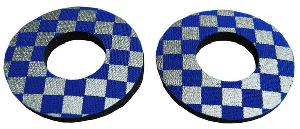 ProBMX Flite Style BMX Bicycle Foam Grip Donuts - Checker Silver & Blue