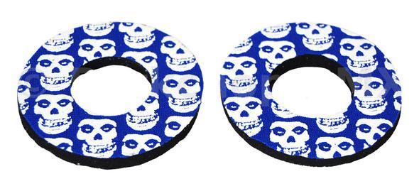 ProBMX Flite Style BMX Bicycle Foam Grip Donuts - Skulls Blue & White