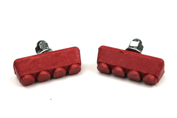 BMX Freestyle or Race Bicycle Brake Pads - Red Pairs
