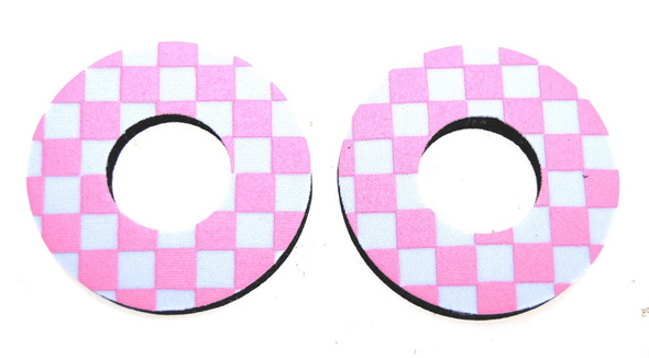 ProBMX Flite Style BMX Bicycle Foam Grip Donuts - Checker Pink & White