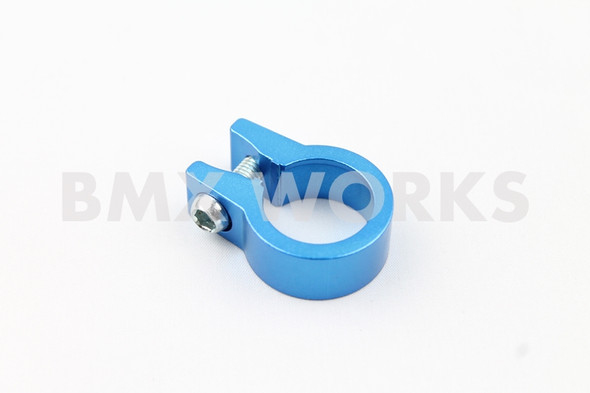 Seat Clamp Blue 25.4mm Anodized Aluminium Single Bolt