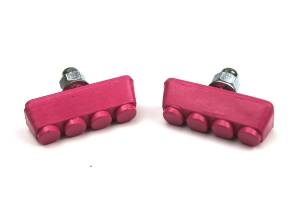 BMX Freestyle or Race Bicycle Brake Pads - Hot Pink Pairs
