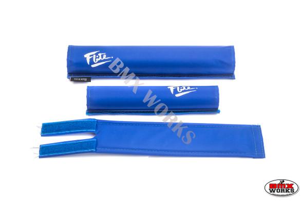 FLITE 3 Piece Nylon BMX Padset - 80's Logo Blue & White