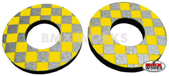 ProBMX Flite Style BMX Bicycle Foam Grip Donuts - Checker Silver & Yellow