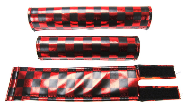 FLITE 3 Piece Nylon BMX Padset - Checker Red Chrome & Black