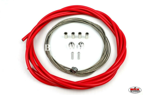 BMX Brake Cable Front & Rear Kit Pinky Red
