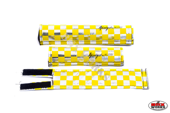 FLITE 3 Piece Nylon BMX Padset - Checker Yellow & Chrome