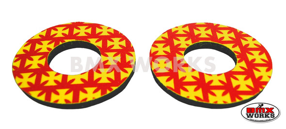 ProBMX Flite Style BMX Bicycle Foam Grip Donuts - Iron Cross Red & Yellow