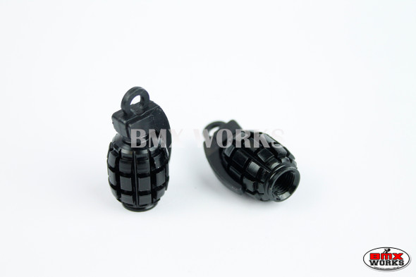 BMX Grenade Valve Caps Pairs - Black - Old School BMX