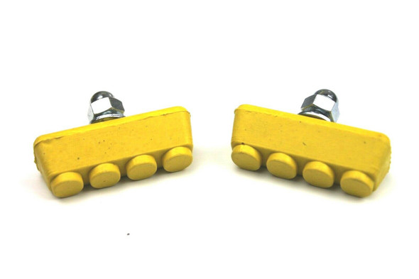 BMX Freestyle or Race Bicycle Brake Pads - Yellow Pairs
