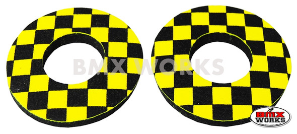 ProBMX Flite Style BMX Bicycle Foam Grip Donuts - Checker Black & Yellow