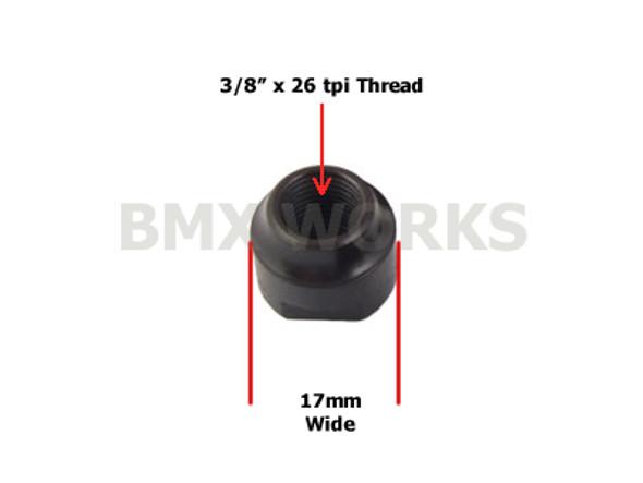 "Hub Cone Rear Black 3/8"" x 26 tpi x 17mm"