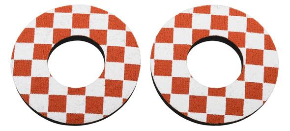 ProBMX Flite Style BMX Bicycle Foam Grip Donuts - Checker Dark Orange & White