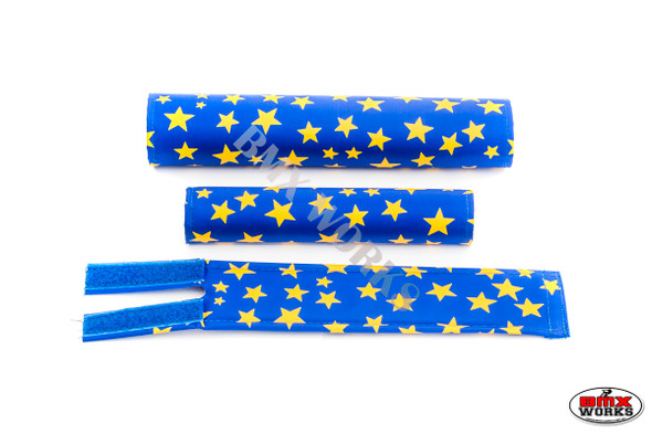FLITE 3 Piece Nylon BMX Padset - Blue with Yellow Stars