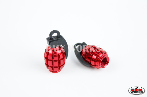 BMX Grenade Valve Caps Pairs - Red - Old School BMX