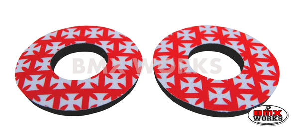 ProBMX Flite Style BMX Bicycle Foam Grip Donuts - Iron Cross Red & White