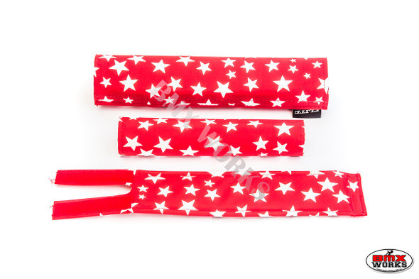 FLITE 3 Piece Nylon BMX Padset - Red with White Stars