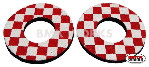 ProBMX Flite Style BMX Bicycle Foam Grip Donuts - Checker Red & White