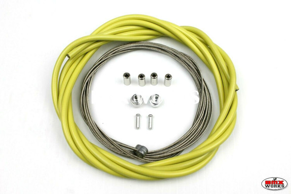 BMX Brake Cable Front & Rear Kit Lemon