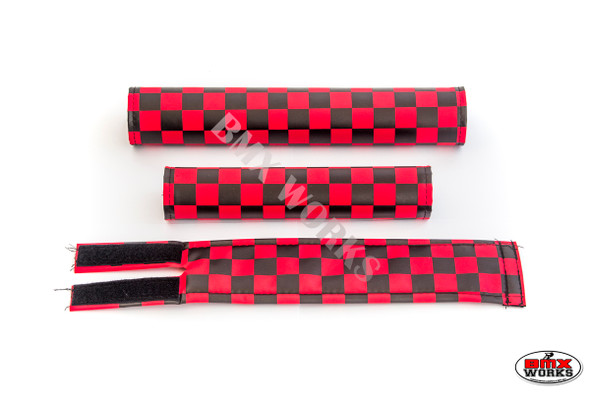 FLITE 3 Piece Nylon BMX Padset - Checker Red & Black