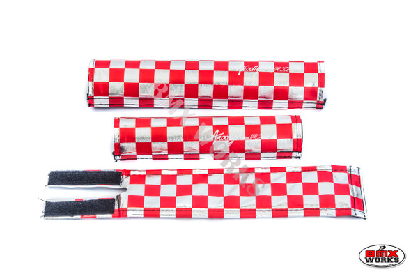 FLITE 3 Piece Nylon BMX Padset - Checker Red & Chrome