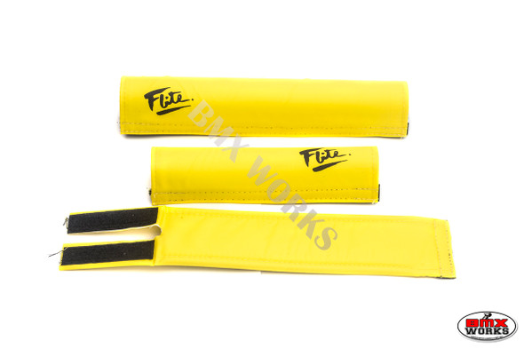 FLITE 3 Piece Nylon BMX Padset - 80's Logo Yellow & Black