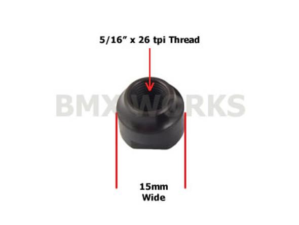 """Hub Cone Front Black 5/16"""" x 26 tpi x 15mm"""